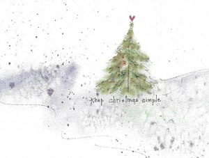 keep christmas simple. christmas tree in snow graphic