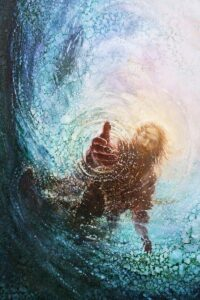 jesus reaching his hand out through the water